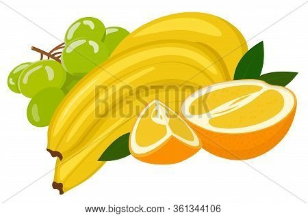 Composition From Various Fresh Exotic Fruit Orange, Banana, Grape