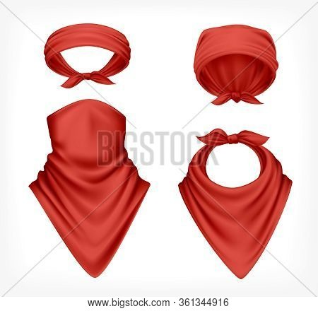 Bandana Scarf Buff Handkerchief Reailstic Set With Images Of Red Headwear Textile Products On Blank