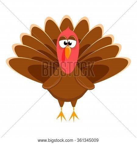 Funny Turkey In Cartoon Style. Turkey Vector Illustration.
