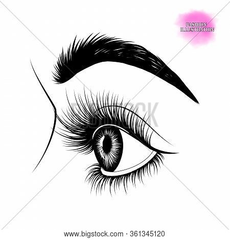 Fashion Illustration. Black And White Hand-drawn Image Of Beautiful Eye In Profile With Eyebrows And