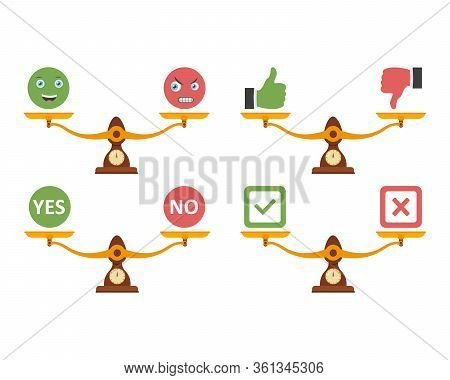 Badges Yes And No On Scales. Yes And No.