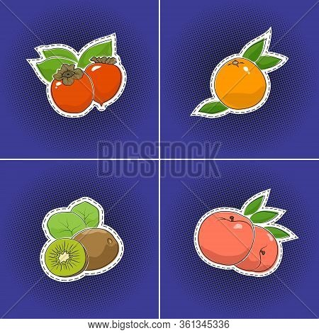 Set Of Tropical Fruits Sticker On A Purple Violet Pop Art Halftone Background, Persimmon And Peach,