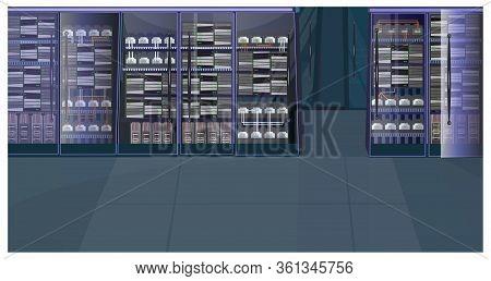 Data Processing Center. Server Room, Database, Computer, Nas. Information Technology Concept. Realis