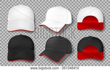 Realistic Baseball Cap Mockup Isolated. White And Black Textile Cap With Red Visor, Front, Back And