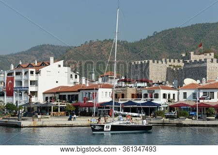 Marmaris,turkey - October 30, 2019:yacht At The Waterfront Of The Turkish City Of Marmaris