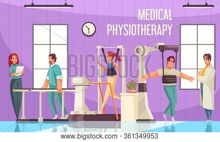 Physiotherapy Rehabilitation Composition With Indoor View Of Clinic Gymnasium With Medical Apparatus