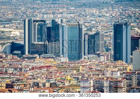 Naples, Italy, March 2018: Aerial View Of Business And Financial District Of Naples, Modern Skyscrap