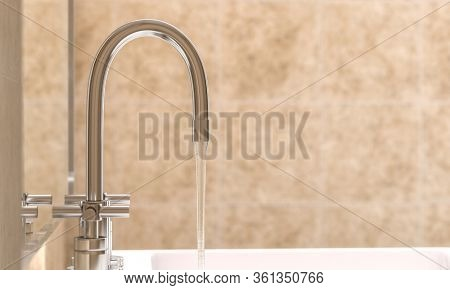 detail of a modern faucet in a bathroom from which water flows. selective focus. 3d render.