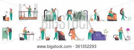 Cleaning Color Set Of Isolated Icons And Human Characters Of Professional Cleaners In Uniform With D