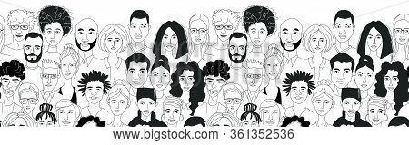 Decorative Diverse Womens Mens Head Seamless Border Background. Multiethnic Gruop