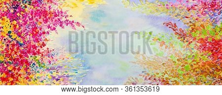Abstract Watercolor Landscape Painting Imagination Colorful Of Beauty Flowers And Emotion In Sky Blu