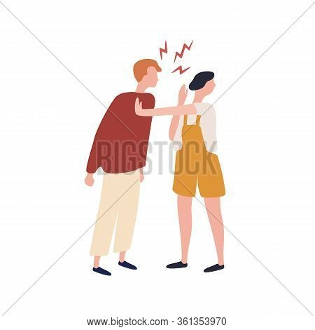 Cartoon Suffer Woman Stopped Angry Man During Conflict Isolated On White Background. Abuser Colorful