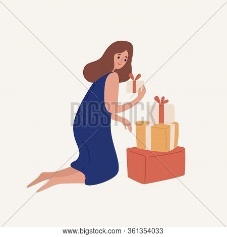 Happy Cartoon Woman Disassemble Heap Of Gift Box With Ribbon Vector Flat Illustration. Smiling Color