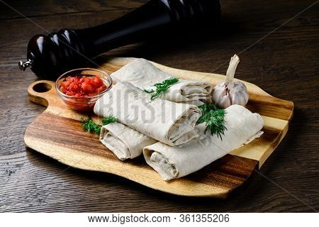 Thin Pita Bread, Cheese And Greens For Making Hot Breakfast. Suluguni Cheese In Pita For Barbecue