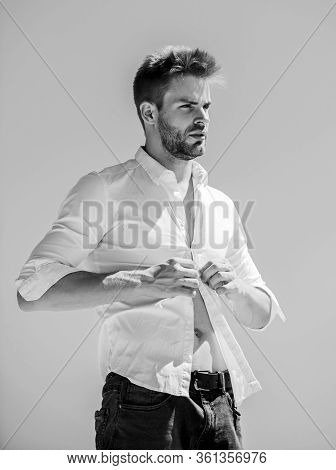 Following His Personal Style. Sexy Macho Man. Bearded Guy Business Style. Handsome Man Fashion Model