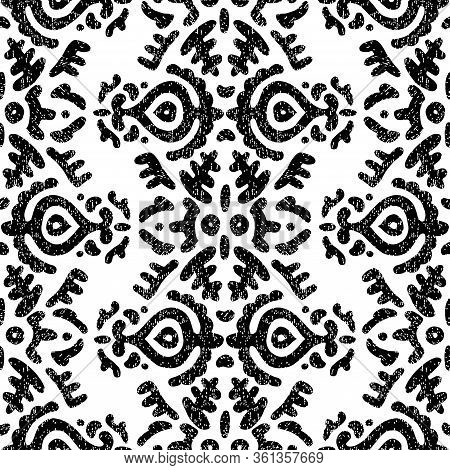 Cute Black And White Pattern. Ink Decorative Flowers. Ethnic And Tribal Motifs. Bohemian Print For T