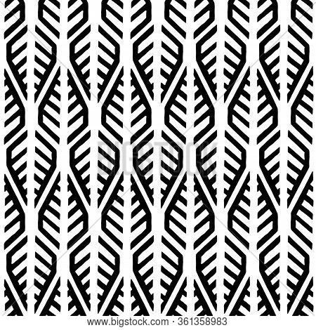 Seamless Black And White Pattern. Ink Simple Geometric Ornament. Doodle Style Textile Print. Ethnic
