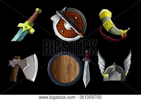 Set Collection With Realistic Game Icons Items With Vikings Culture Objects. Sword, Ax And Shield, H