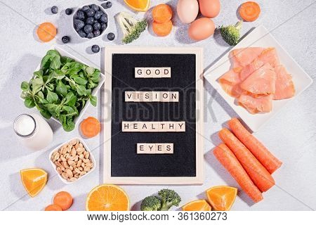 Foods That Help Maintain Eyes Healthy, Products For Keeping Good Vision, Vitamins For Eyes. Black Bo