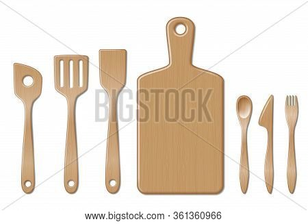 Bamboo Kitchen Utensils Set Isolated On White. Kitchenware Set With Spoon, Fork Dinner Knife And Fla