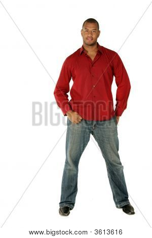 Full Length Portrait Of A Sexy African American Male Model.