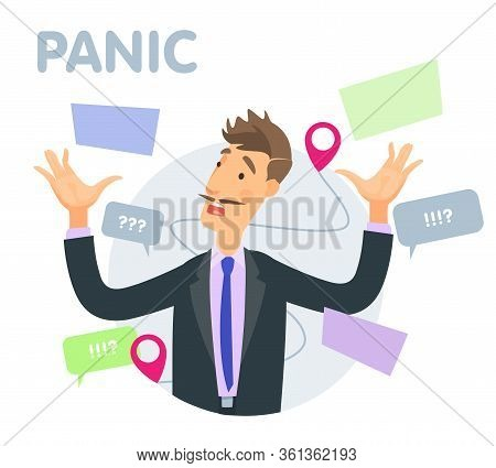 Vector Illustration Panic At The Office Manager, Messages, Questions And Documents. An Animated Char