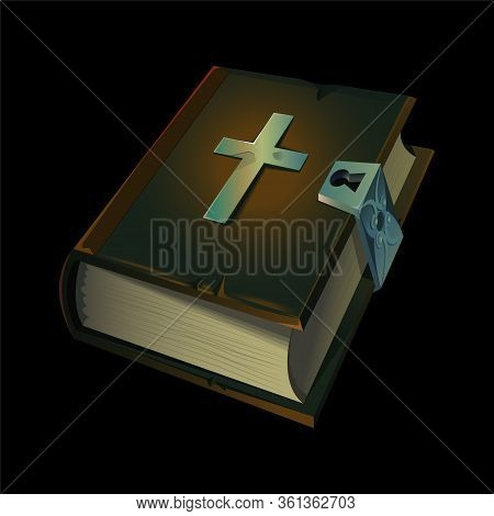 Old Holy Bible Book Icon With Metal Christian Cross On It. Vector Illustration For Game Design. Medi