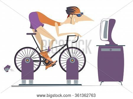 Cyclist Trains At Home On The Exercise Bike Illustration. Cyclist Rides On Exercise Bike In Front Of