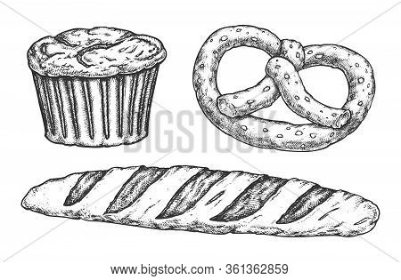 Sketch Of Kringle And Baguette, Cake With Raisins