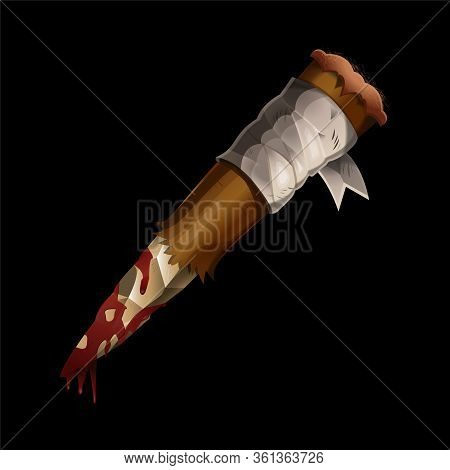 Realistic Aspen Stake Wooden Stick Against Vampires And Dracula With Blood On It. Anti Vampire Tool.