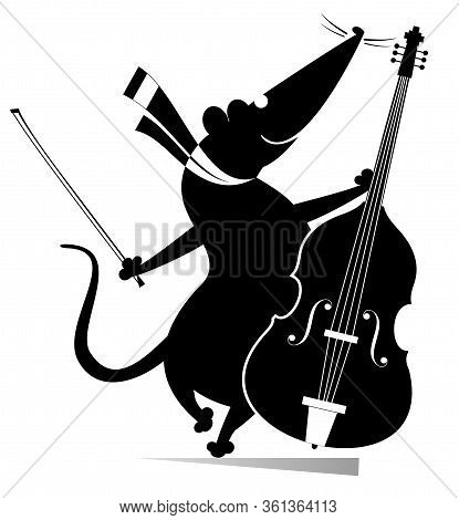 Cartoon Rat Or Mouse A Cellist Illustration. Funny Rat Or Mouse With Cello And Fiddlestick Isolated