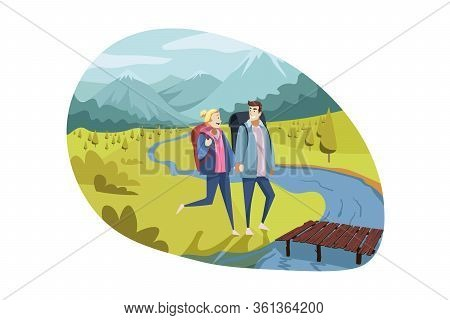 Travelling Couple, Tourism, Nature, Hiking Concept. Couple In Love, Boyfriend And Girlfriend, Man Wo