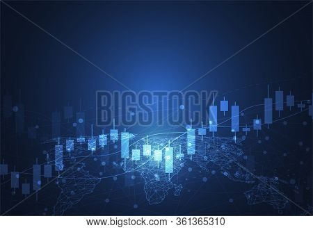 Business Candle Stick Graph Chart Of Stock Market Investment Trading On Dark Background Design. Bull