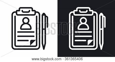 Medical Record, Disease History Or Patient Card Icon. Simple Two-tone Vector Illustration On Black A