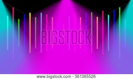 Blurred Colorful Light Beam On Black Background, Light Ray Glowing Bright Color For Backdrop, Spotli