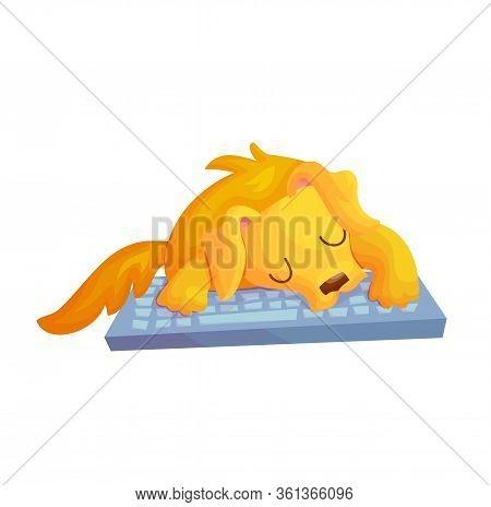 Cute Cartoon Golden Retriver Dog Sleeping On Keyboard. Freelancer Life Concept Vector Illustration.