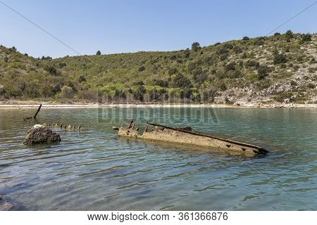 Parts Of The Sinking German Ship Fritz From World War Ii In The Bay Of Salamustica In The Rasa Bay,