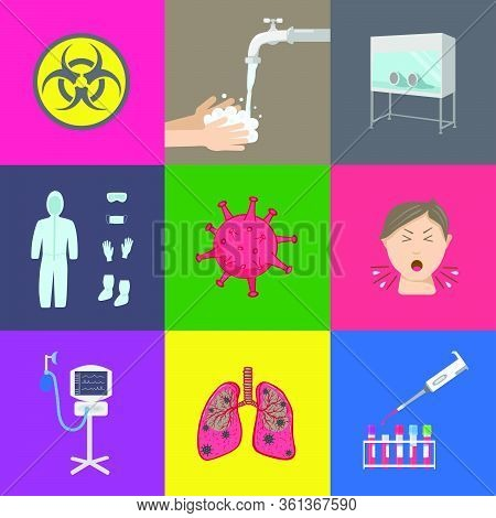 Set Of Virology Icons Of Medical Equipment, Laboratory Tests And Healthcare. Color Vector Illustrati