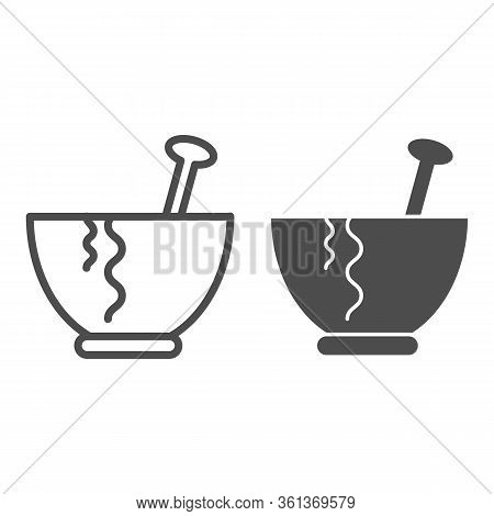 Plate Line And Solid Icon. Plate With Spoon Illustration Isolated On White. Pasta Plate Outline Styl