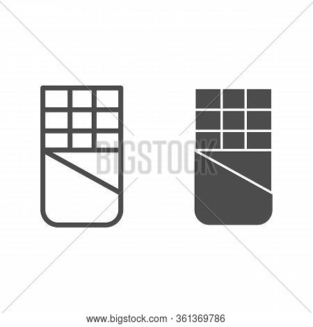 Chocolate Line And Solid Icon. Open Chocolate Bar Illustration Isolated On White. Opened Chocolate B