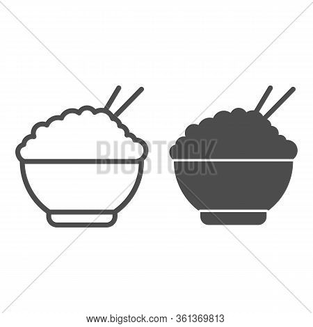 Rice Line And Solid Icon. Chinese Food Rice Illustration Isolated On White. Bowl Of Rice With Chopst