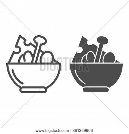 Salad Line And Solid Icon. Salad Plate Illustration Isolated On White. Bowl Full With Meal Outline S