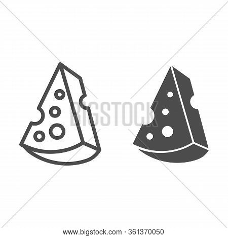 Cheese Line And Solid Icon. Cheddar Cheese Piece Illustration Isolated On White. French Cheese Outli