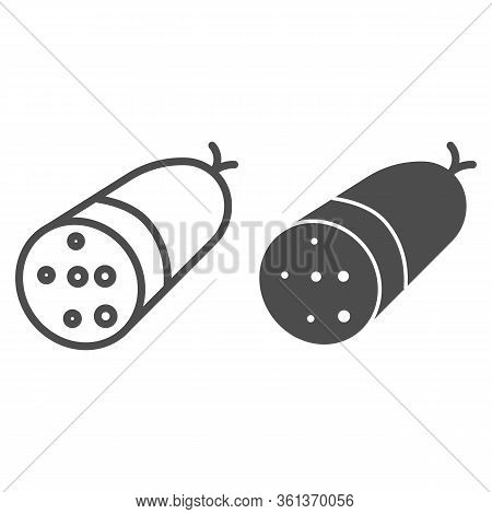 Sausage Line And Solid Icon. Salami Sausage Illustration Isolated On White. Meat Half Sausage Bacon