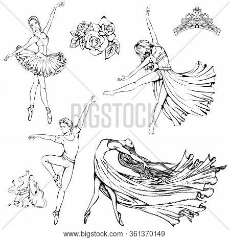 Vector Illustration Of Girls And Boy Dancing Ballet, Contemporary, Modern Dance Isolated On White Ba