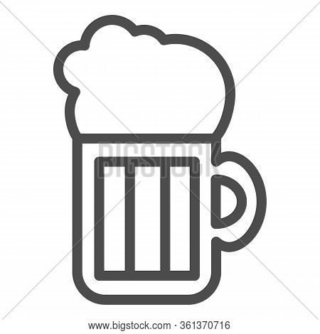 Beer Line Icon. Beer Mug Illustration Isolated On White. Alcohol Pint Glass With Froth Outline Style