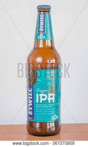 Pruszcz Gdanski, Poland - April 11, 2020: Bottle Of Zywiec Sesyjne Ipa Alcohol Free Beer.