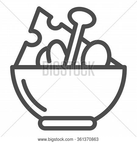Salad Line Icon. Salad Plate Illustration Isolated On White. Bowl Full With Meal Outline Style Desig