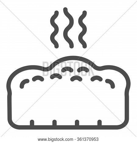Bread Line Icon. Hot Bread Loaf With Steam Illustration Isolated On White. Hot Toast Bread Bakery Lo