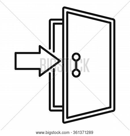 Enter Door Icon. Outline Enter Door Vector Icon For Web Design Isolated On White Background